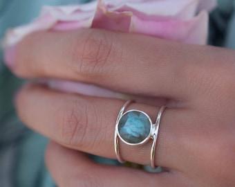 Labradorite Ring * Sterling Silver Ring * Statement Ring * Gemstone Ring * Labradorite * Bridal Ring * Wedding Ring * Organic Ring * BJR004
