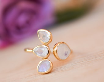 Moonstone Ring * Gold Vermeil*  Lotus Flower *Gold * Statement* Gemstone *Bridesmaid *Natural* Handmade *Gift For Her *BJR175