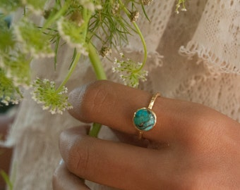 Turquoise Ring* Gold Vermeil Ring * Boho Ring* Blue Ring * Gypsy Ring * Handmade * Hippie * Gold Ring * Blue *Bohemian Jewelry BJR008