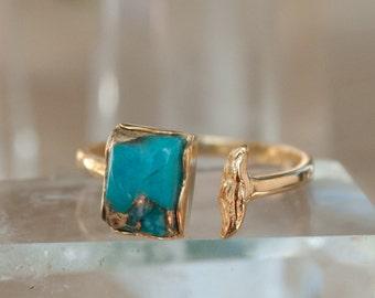 Copper Turquoise Ring * Gold * Adjustable * Bridal * Wedding * Wrap * Boho * Jewelry *Gemstone *Mermaid *Blue* BJR094
