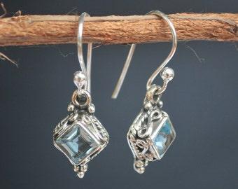 Blue Topaz Earrings * Diamond Shape Earrings * Sterling Silver Earrings * December Birthstone Earrings* BJE014