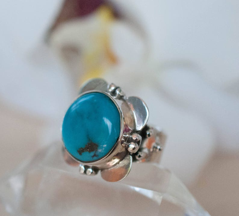 Turquoise Flower Ring Natural Blue Gemstone Handmade *Semi Precious Stone *Bohemian *Chic *BJR054 Statement Sterling Silver 925