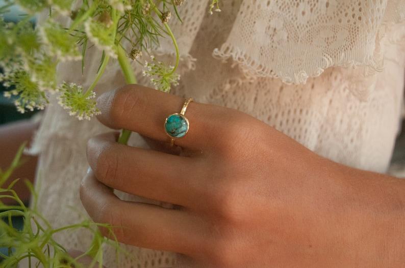Turquoise Ring Gold Vermeil Ring  Boho Ring Blue Ring  image 0