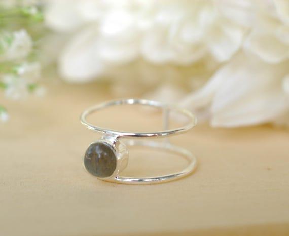 Semi Precious Gemstone Ring Guérison Cristal Argent Sterling Anneau Empilable Cadeau