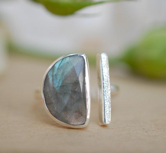 Women Ring Gemstone Ring Statement Ring Handmade Ring Labradorite Ring 7.5 USA Silver Overlay Handmade Ring Size Boho Chic Ring