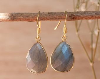 Labradorite Earrings * Dangle Earrings * Blue Earrings * Gold Vermeil *Handmade Earrings * Blue * Boho-chic * Gemstone * Organic * BJE061