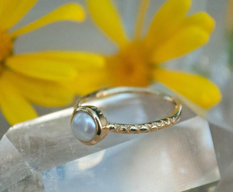 Bridesmaid Pearl Gold Ring Engagement* Gemstone Ring Fresh Water Pearl Ring White *Boho Hippie BJR016 Mermaid* Ocean Jewelry