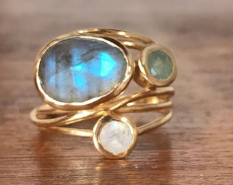 Gold Plated 18k Ring * Labradorite * Moonstone * Aqua Chalcedony *Gemstones * Handmade * Statement * Natural * Organic * Gift for her BJR100