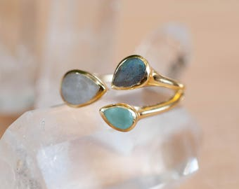 Gold Vermeil Ring * Labradorite * Moonstone * Aqua Chalcedony *Gemstones * Handmade * Statement * Natural * Organic * BJR042