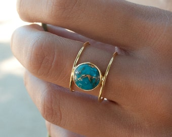 Turquoise Ring * Gold Ring * Statement Ring * Gemstone Ring * Copper Turquoise Ring * Natural * Organic Ring * Ocean * Blue Ring * BJR001