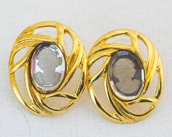 Cameo Earrings, Small Earrings, Little Earrings, Ear Ring, Ear Rings, Victorian Earrings, Edwardian Earrings, Gold Earrings, Cameo Ear Rings