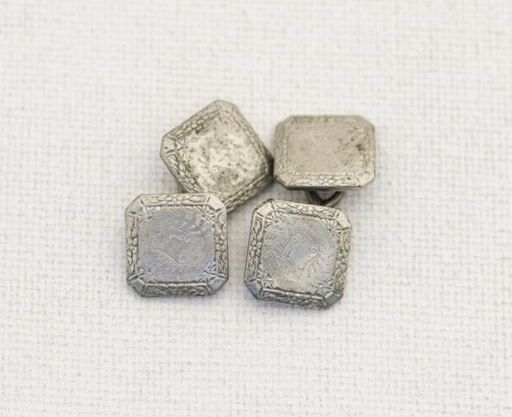 14k White Gold Square Vintage Cuff Links, 14k Gold
