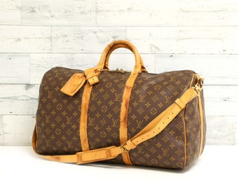 92cbebda8a80 Authentic LOUIS VUITTON Monogram Keepall Bandouliere 50 Duffel Luggage Bag  Overnight Gym Travel Handbag Vintage with Shoulder Strap RS0778