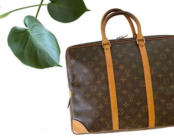 Authentic LOUIS VUITTON Monogram Porte Documents Voyage Business Briefcase Handbag LV Travel Luggage Satchel Vintage YO6462