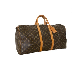 Authentic LOUIS VUITTON Monogram KEEPALL 55 Luggage Handbag Duffel Travel Bag Purse Satchel Lv Vintage YO6449
