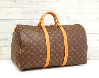 a5d82c0e9 Authentic LOUIS VUITTON Monogram KEEPALL 50 Duffel bag Luggage Handbag  Travel Purse Large Boston Lv Vintage YO4763