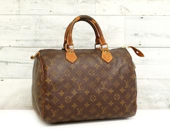 1f87526359 Authentic LOUIS VUITTON Monogram SPEEDY 30 Handbag Bag Purse Satchel  Vintage Boston Lv RS0802