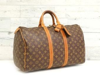 e1c5220453 Authentic LOUIS VUITTON Monogram KEEPALL 45 Travel Luggage Bag Satchel  Handbag Duffel Large Purse Vintage YO5129