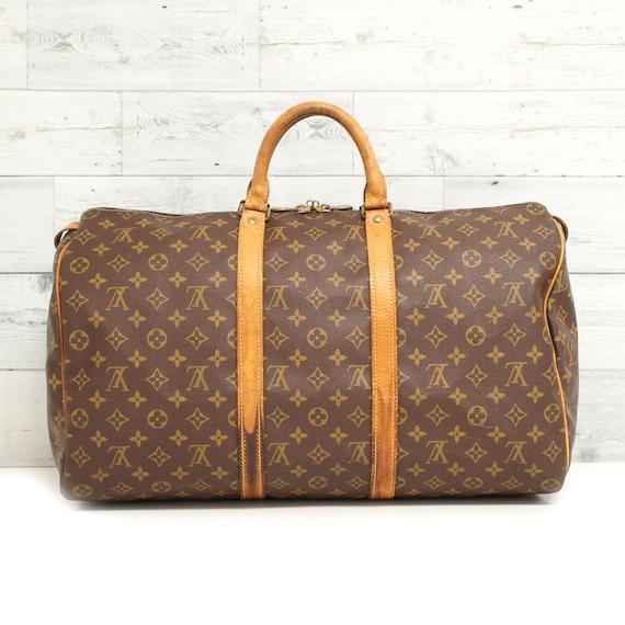 Authentic LOUIS VUITTON Monogram KEEPALL 50 Duffel Luggage Bag  4a55630c9fec7