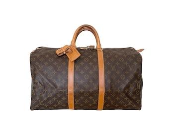 Authentic LOUIS VUITTON Monogram KEEPALL 50 Duffel Bag Handbag Luggage Travel Vintage 90's YO6480