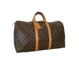 Authentic LOUIS VUITTON Monogram KEEPALL 50 Duffel Bag Handbag Luggage Travel Vintage 90's YO6484