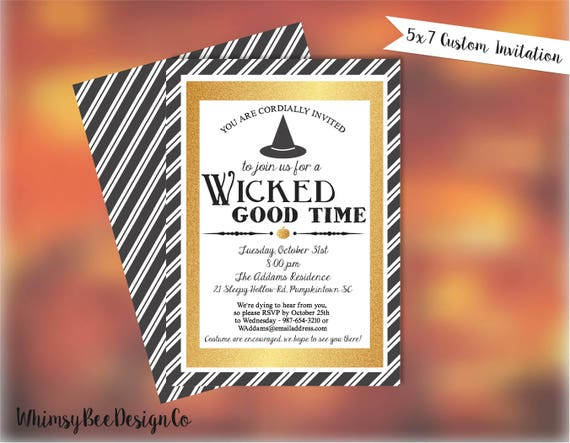 photo relating to Printable Halloween Party Invitations called Halloween Bash Invites - Grownup Halloween Invite - Gown Occasion Printable Halloween Witch Invitation Gold Invitation Wicked Wonderful Season