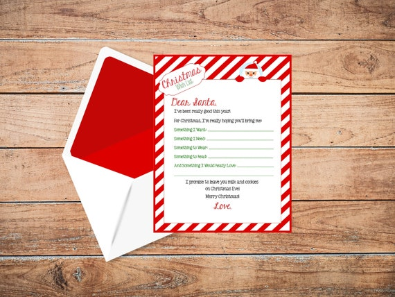 Printable Christmas Wish List Dear Santa Letter Letter To Santa Children S Holiday Letter North Pole Letter Gift List Santa Claus Red