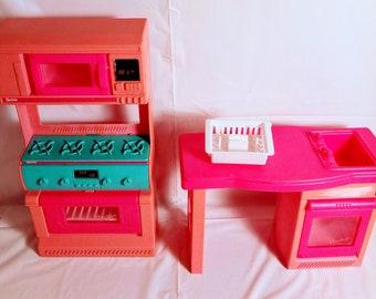 Vintage 1994 Barbie Doll Furniture: Kitchen Counter Sink Pullout Dishwasher