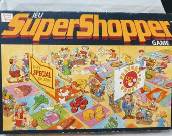 Vintage Super Shopper Board Game By Alpha Games 1980 s COMPLETE  French English d9bef7256988e