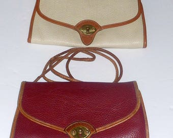 Lot 2 Dooney & Bourke AWL Vintage Cavalry Shoulder bag Clutch Maroon Beige