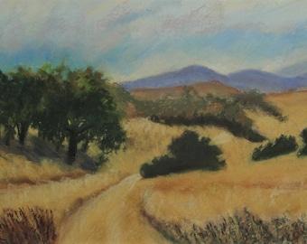 Golden Hills, Malibu Valley---original art, pastels, impressionist landscape, affordable art