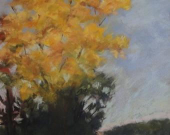 Autumn on Old Mulholland Highway--original art, pastel landscape ,affordable art