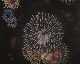 Happy Fourth!---original art, night sky, fireswrks, pastel landscape, affordable art