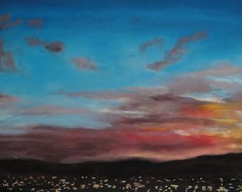 Autumn Sunset, San Fernando Valley---original art, pastel landscape, affordable art