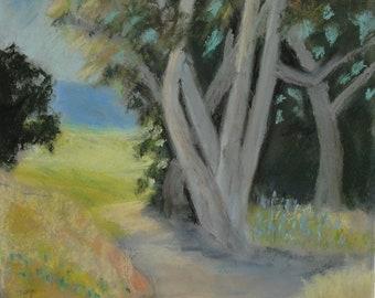 Sycamore Springtime, Malibu---original art, pastel landscape,spring , affordable art