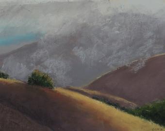 Morning Mist---original art, pastel landscape, impressionistic, affordable art