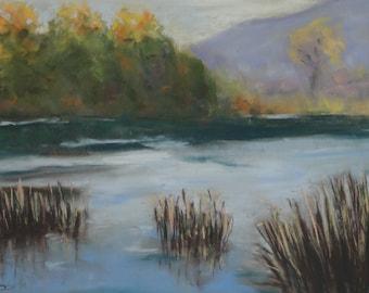 "November,Malibu Creek--- original art, impressionist landscape, pastels, affordable art,12"" x 16"""