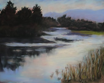 January Morning,Malibu Creek---original  pastel artwork. impressionist landscape, affordable art