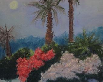 Malibu Moonrise---original art, pastel landscape, moonlight, affordable art