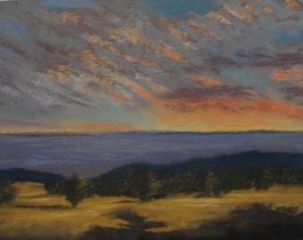 Mid-Summer Sunset---original art, pastel landscape, evening sky, impressionist landscape, affordable art