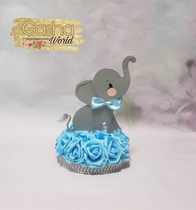 1 pc Elephant Cake Topper 1pc Elephant Centerpiece Elephant Baby Shower Elephant Theme Girl Baby Shower Boy Baby Shower Elephant