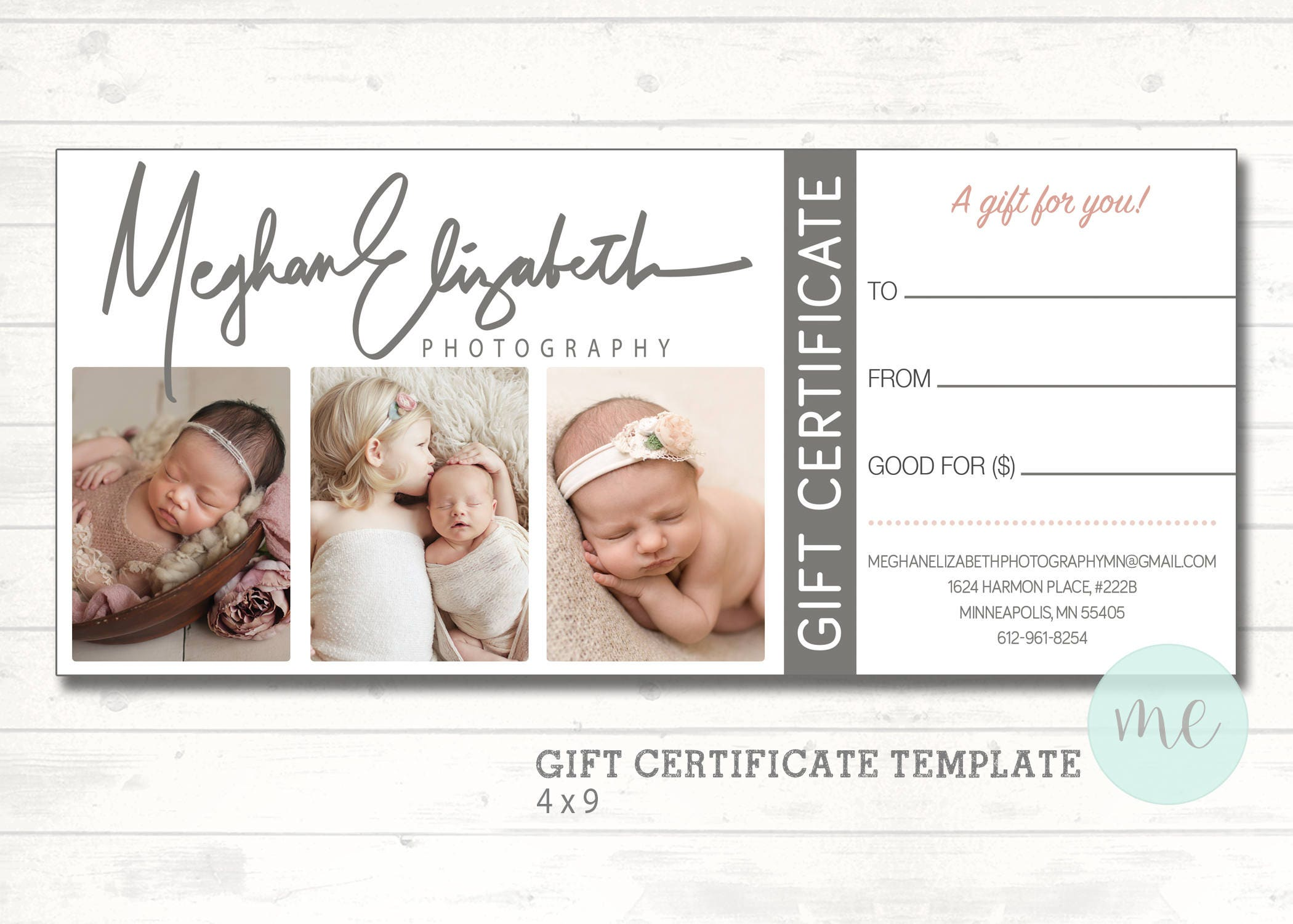 Photographer Gift Certificate Template Gift Card Gift Etsy