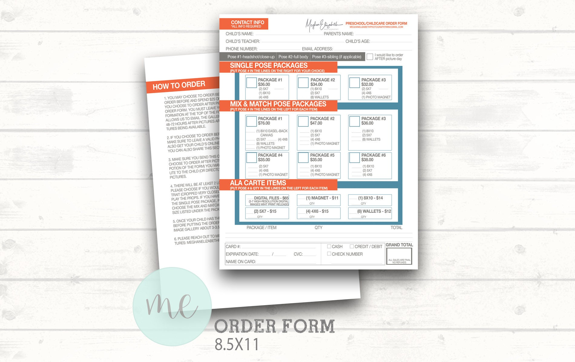 Photographer Order Form Template Picture Day Order Form Etsy