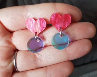 Little Hearts! - Dark Pink Marble Heart and Iridescent Stud dangle earrings