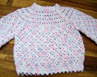 Knitted vintage style pink & purple baby girls jumper sweater top