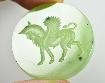 Intaglio carved Siberian Jade of a Winged Bull, Greek style design in high quality Jade Nephrite