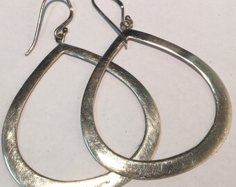 1d935fb6d Contemporary Sterling Silver Abstract Oval Hoop Earrings - Marked BOMA