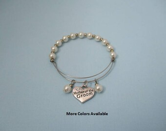 Mother of the Groom Expandable Pearl & Charm Bracelet-Mother of the Groom gift-Mother of Groom jewelry-Mother of the Groom bracelet, B463