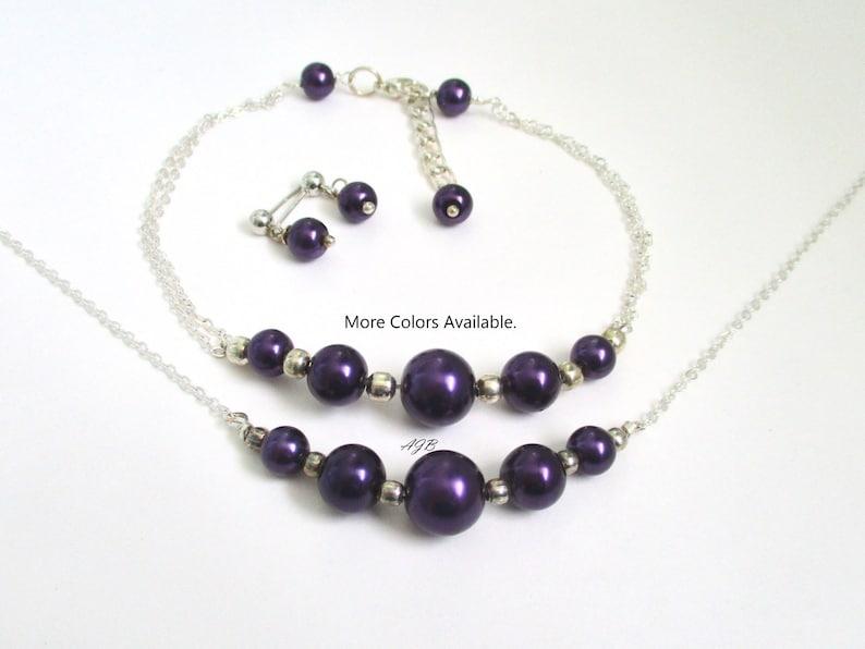 Dark Purple Bridesmaid Jewelry Gift Set Bridal Party Jewelry Bridal Gifts Bridal Party Gifts Maid of Honor Gift Bridesmaid Gift