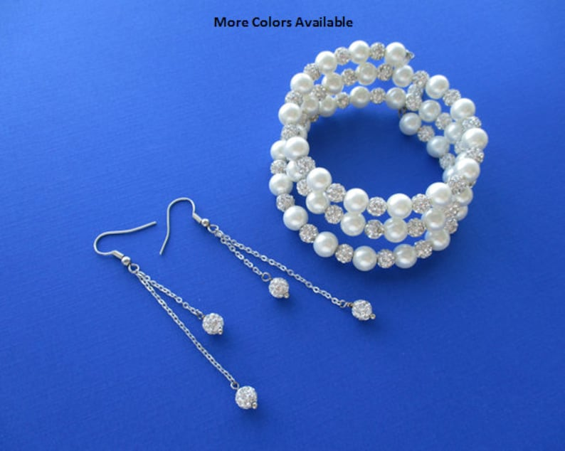 Maid of Honor Gift Bridesmaid Pearl Crystal Jewelry Set Bridal Gift Set Bridesmaid Gift Set Wedding Accessories Bride Jewelry Set